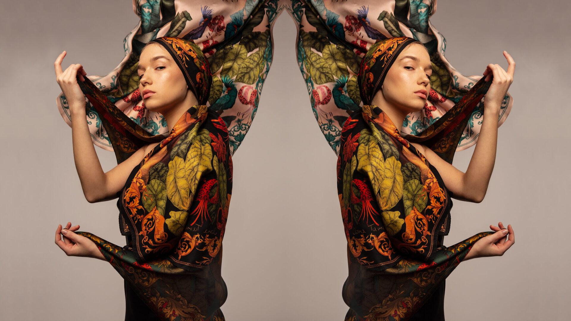 Ilona Tambor Luxury Silk scarf illustrated by hand