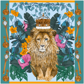 THE MYSTERIOUS KING LION-Blue Silk scarf