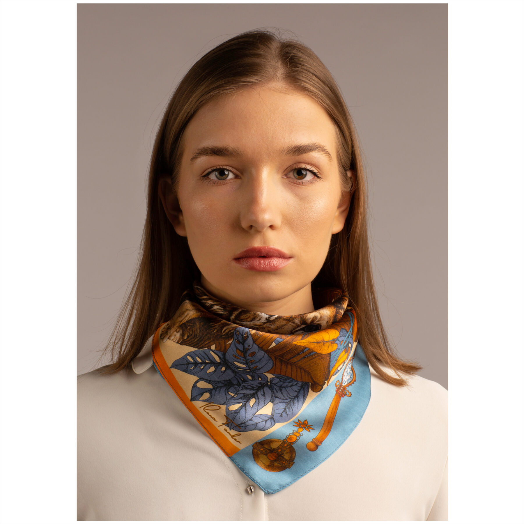 Silk scarf The Mysterious Lion King Gold