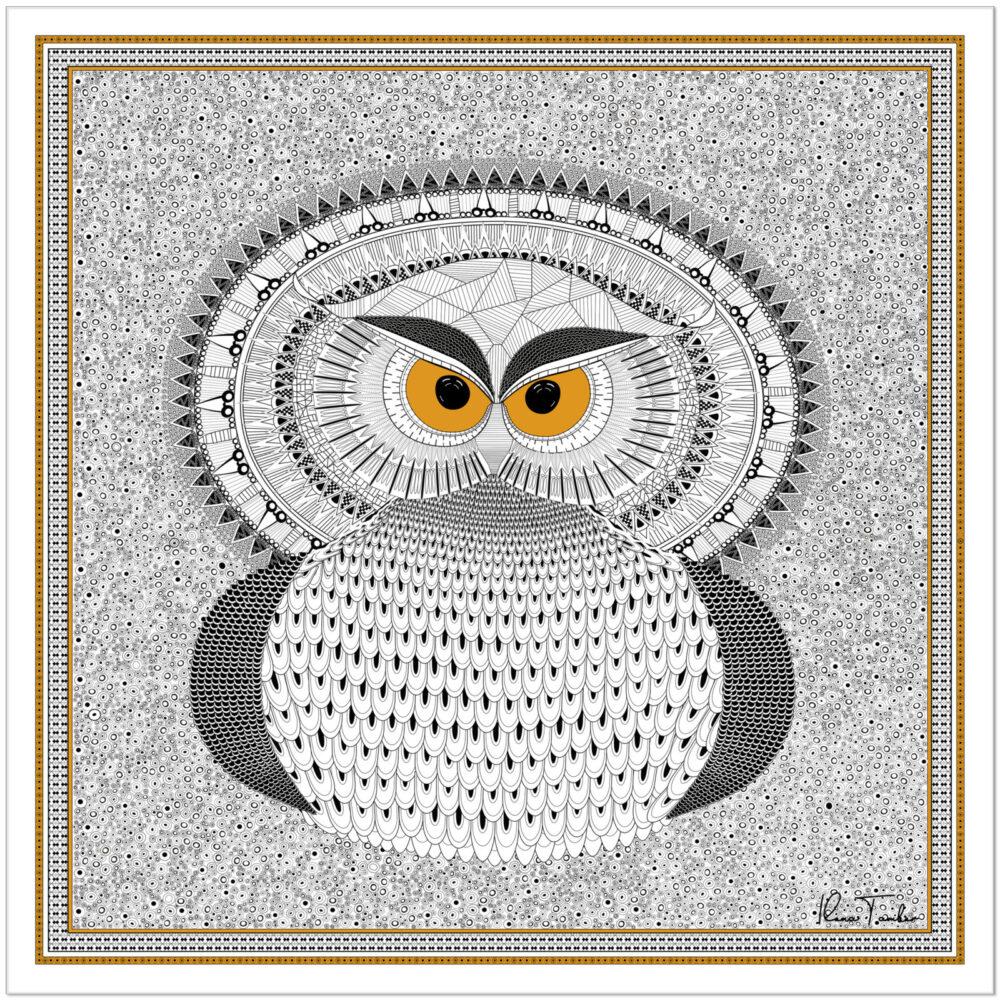 Art silk scarf Owl Ilona Tambor