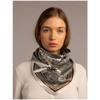 Art silk scarf Owl White