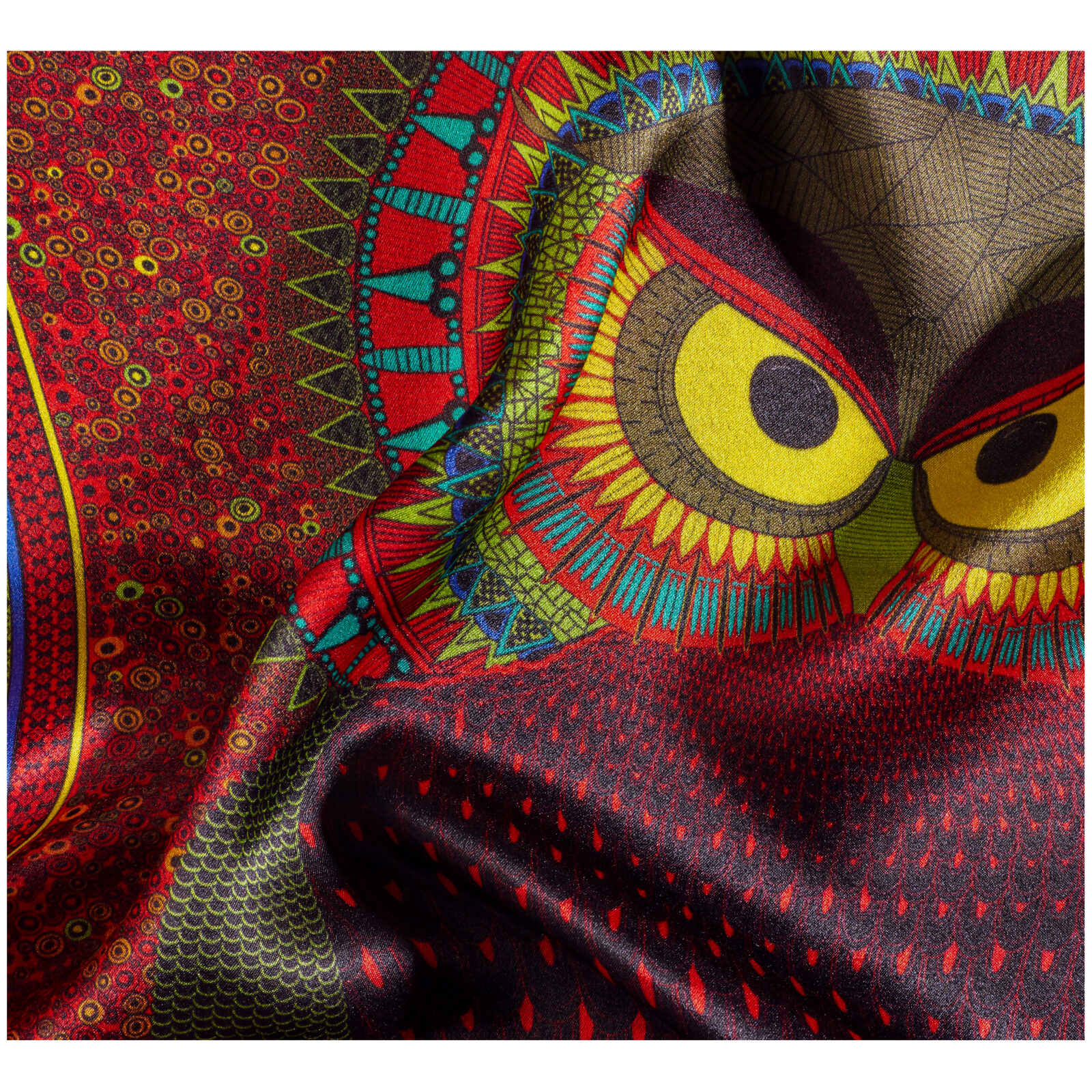 Art silk scarf Owl Red fabric