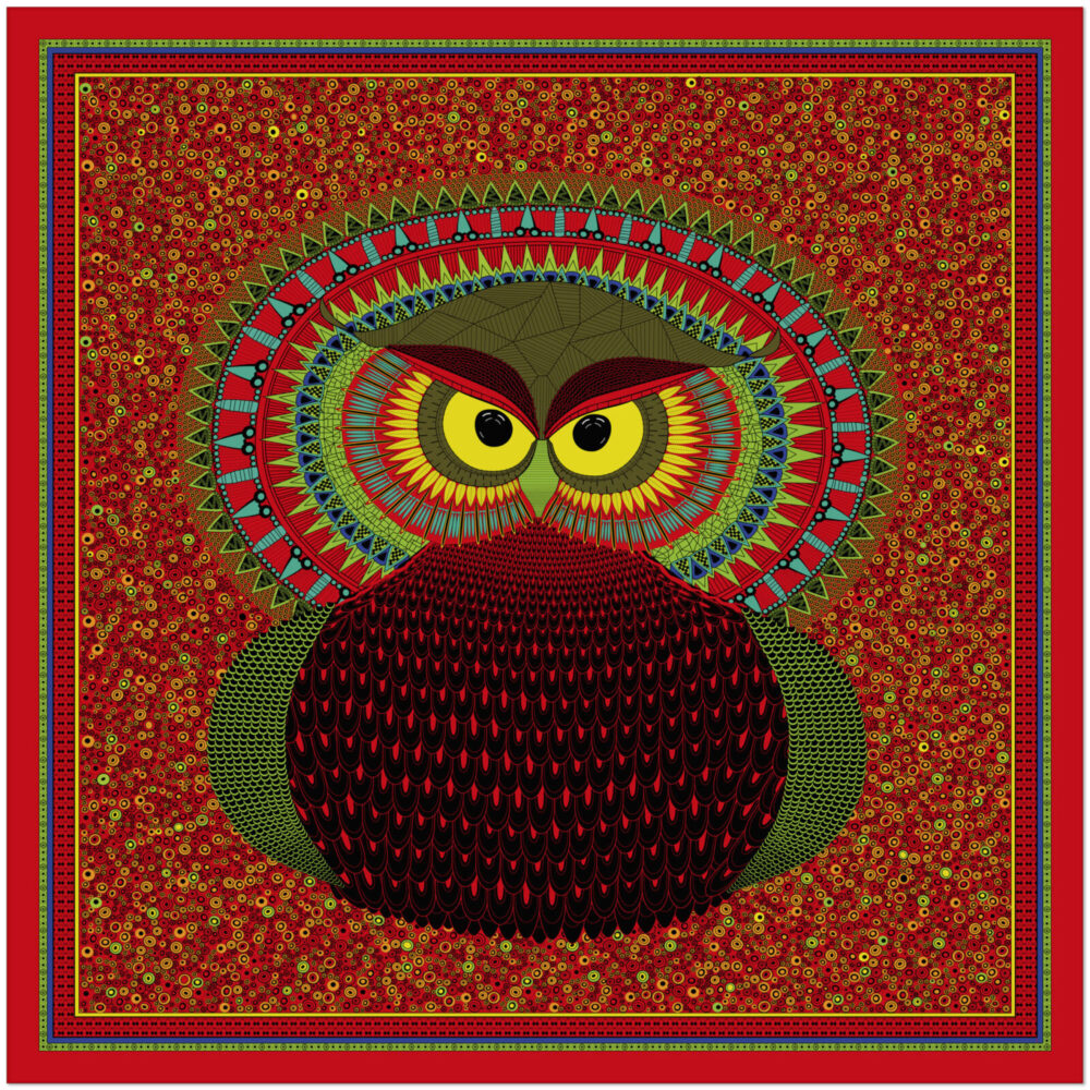 Art silk scarf Owl Mexican Red