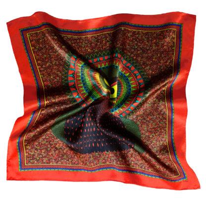 Art silk scarf Owl Red
