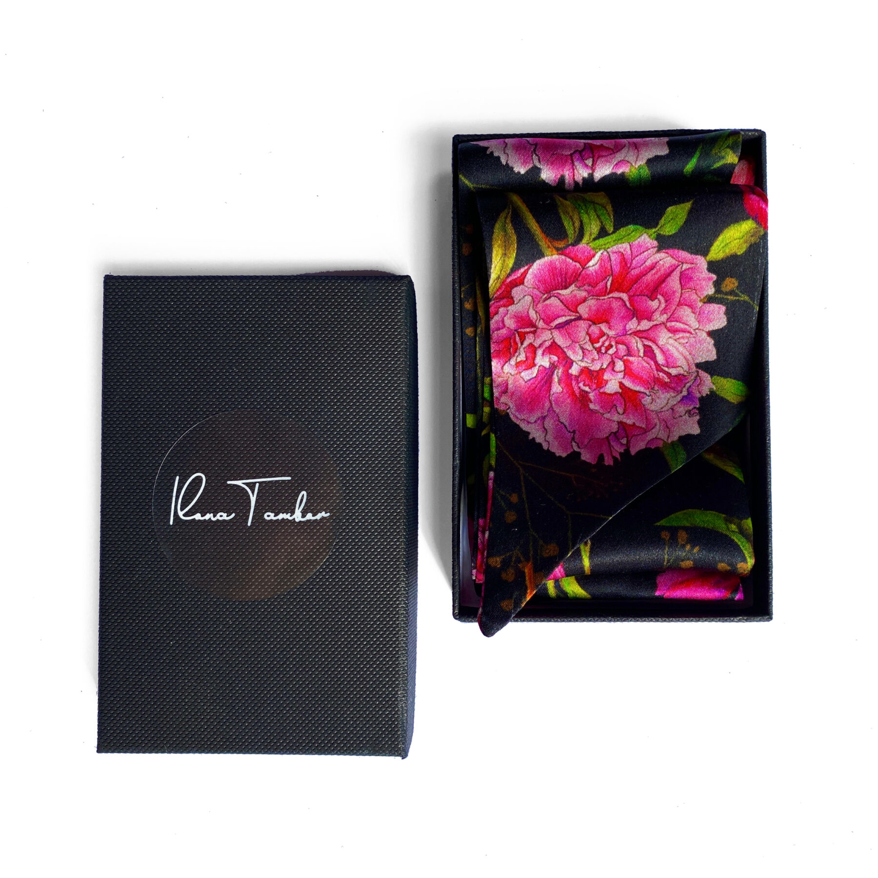 Art silk twilly scarf Peonies box