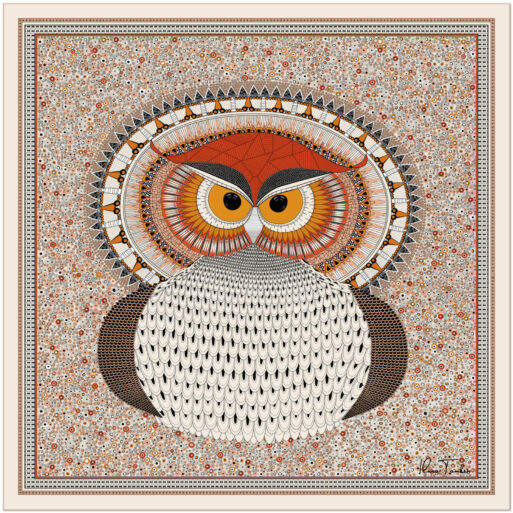Art silk scarf Owl Orange Red
