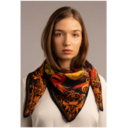 Art silk scarf THE TROPICAL PARADISE-BLACK