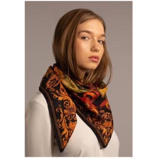 Art silk scarf THE TROPICAL PARADISE-BLACK