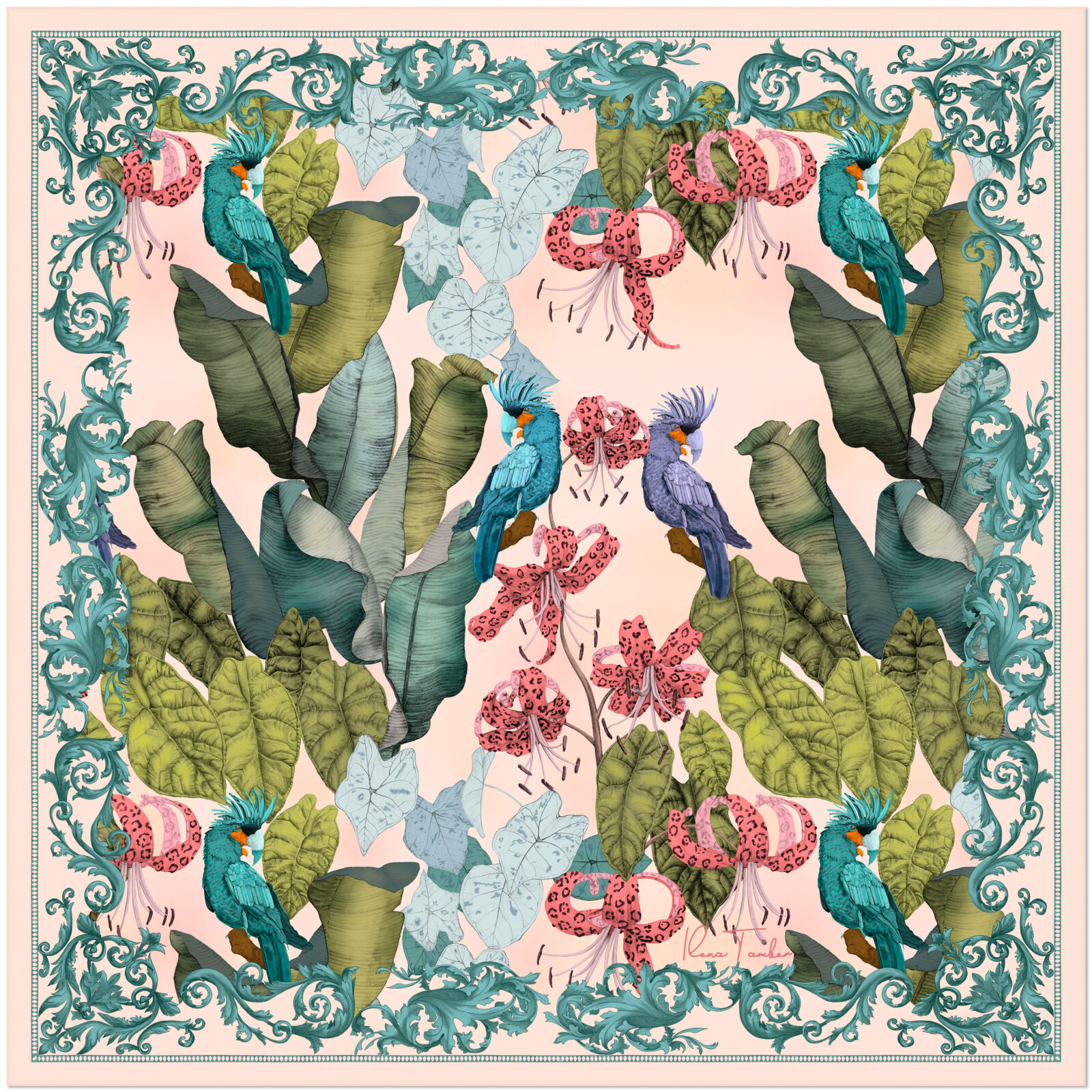 Art Silk Scarf THE TROPICAL PARADISE-Pink