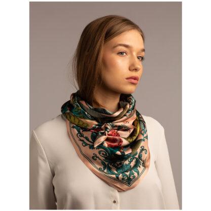 Shop Art silk scarf THE TROPICAL PARADISE-PINK