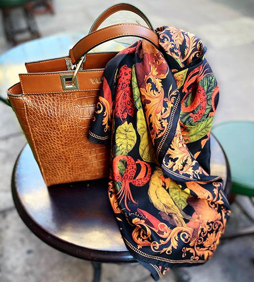 Shop art silk scarves UK lifestyle tropical paradise black