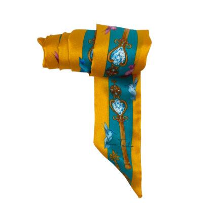 Silk twilly ribbon scarf