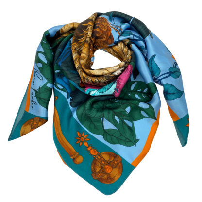 THE MYSTERIOS KING LION-BLUE Silk Scarf