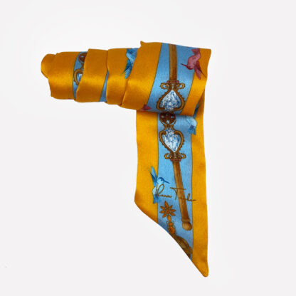 Silk ribbon scarf twilly gold blue