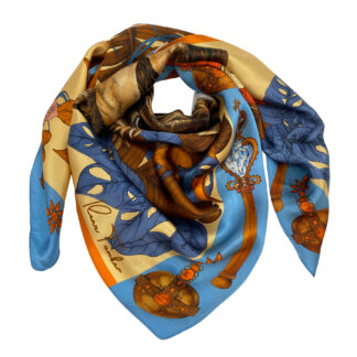 THE MYSTERIOUS KING LION-Gold Silk Scarf