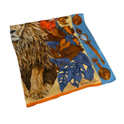 THE MYSTERIOS KING LION-Gold Silk Scarf