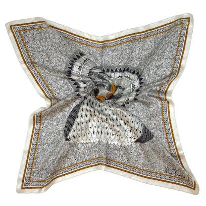 Owl silk scarf white