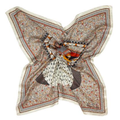 Owl silk scarf orange red