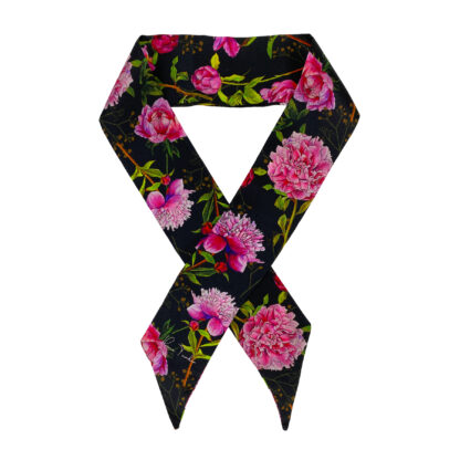 Silk Twilly Scarf Peonies
