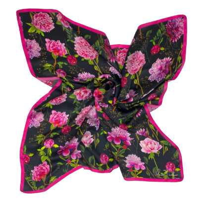 Peonies art silk scarf