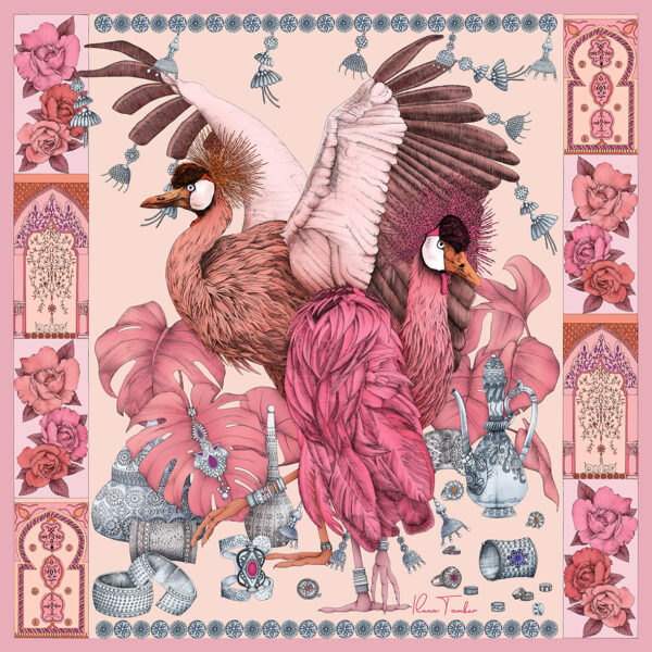New scarf illustration THE GRAND TREASURE OF AFRICAN CROWNED CRANE Pink
