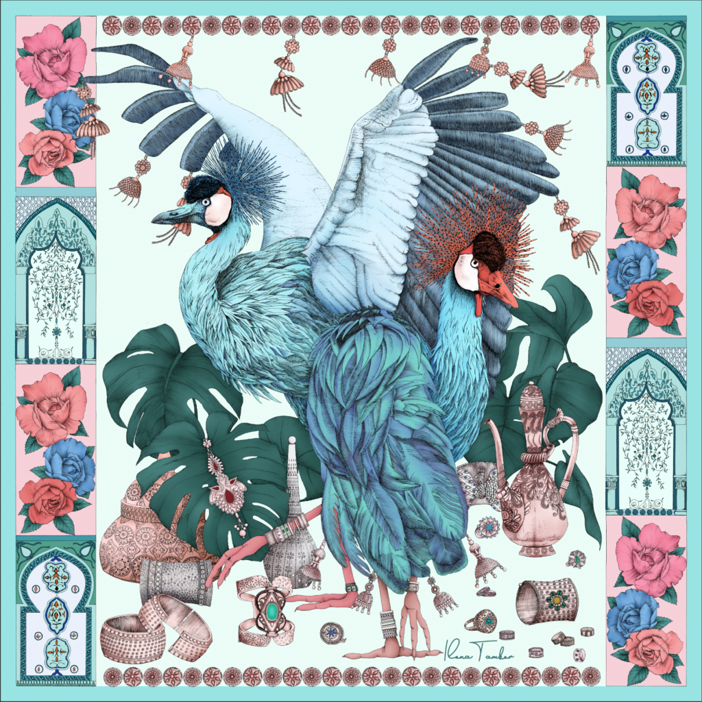 New scarf illustration THE GRAND TREASURE OF AFRICAN CROWNED CRANE Mint