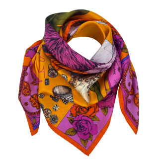 THE GRAND TREASURE OF AFRICAN CROWNED CRANE silk scarf