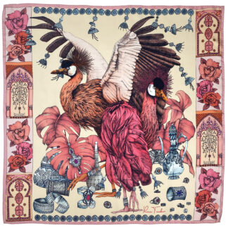 THE GRAND TREASURE OF AFRICAN CROWNED CRANE silk scarf pink