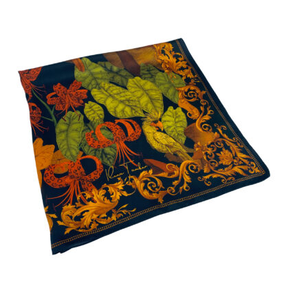 The Tropical Paradise Silk Scarf Black
