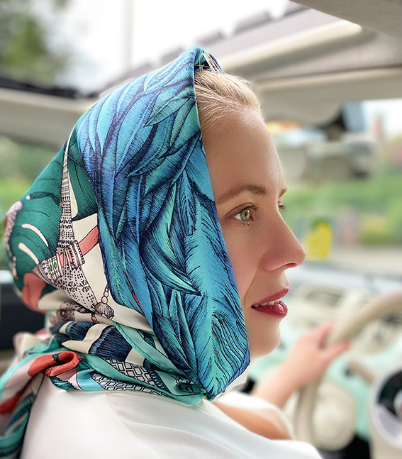 how to tie a silk scarf printed square scarf