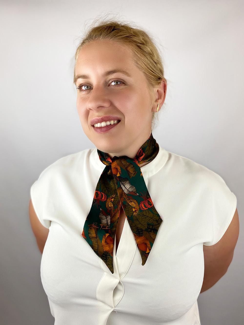 Ribbon silk scarf Ilona Tambor Emerald Green