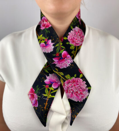 Peonies silk ribbon scarf