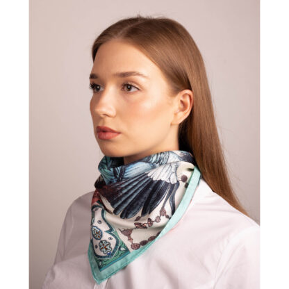 Silk scarf by Ilona Tambor from The African Crowned Crane Collection