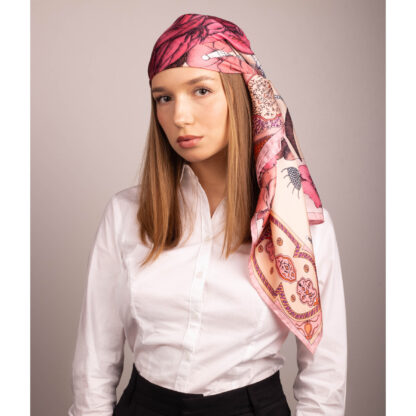 Head scarf silk pink
