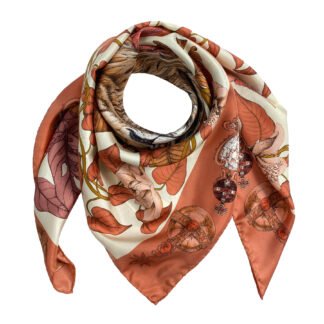 THE MYSTERIOS KING LION SILK SCARF -TERACCOTA Ilona Tambor