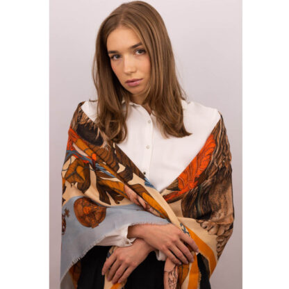 Wool Silk scarf The Mysterious Lion King