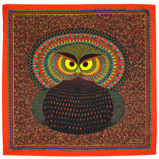 Silk pocket square Owl red