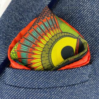 Silk pocket square Owl red