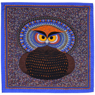 Silk pocket square Owl purple