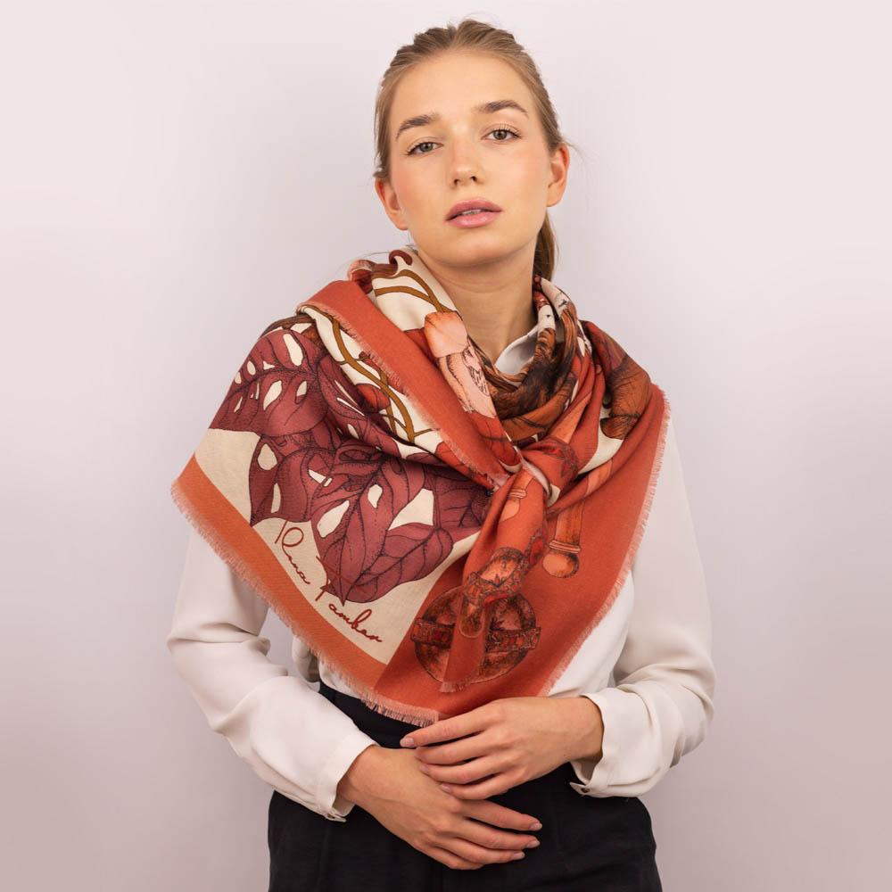 Wool Silk scarf terracotta