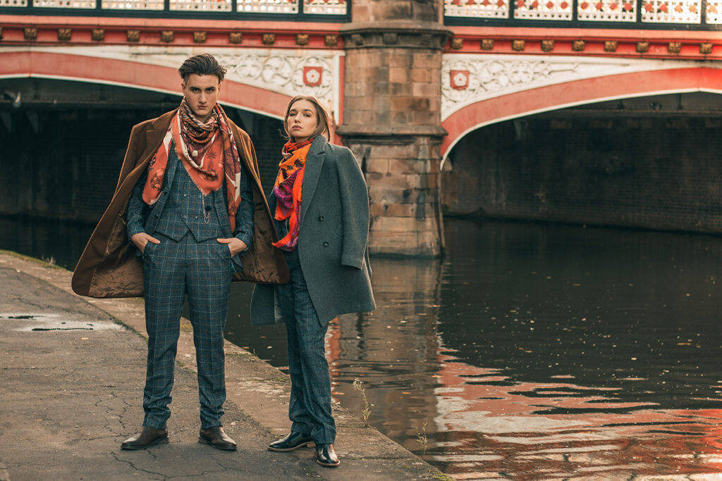 wool-silk scarves worn with vintage inspired outfits