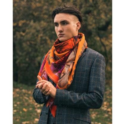 Men wool silk scarf